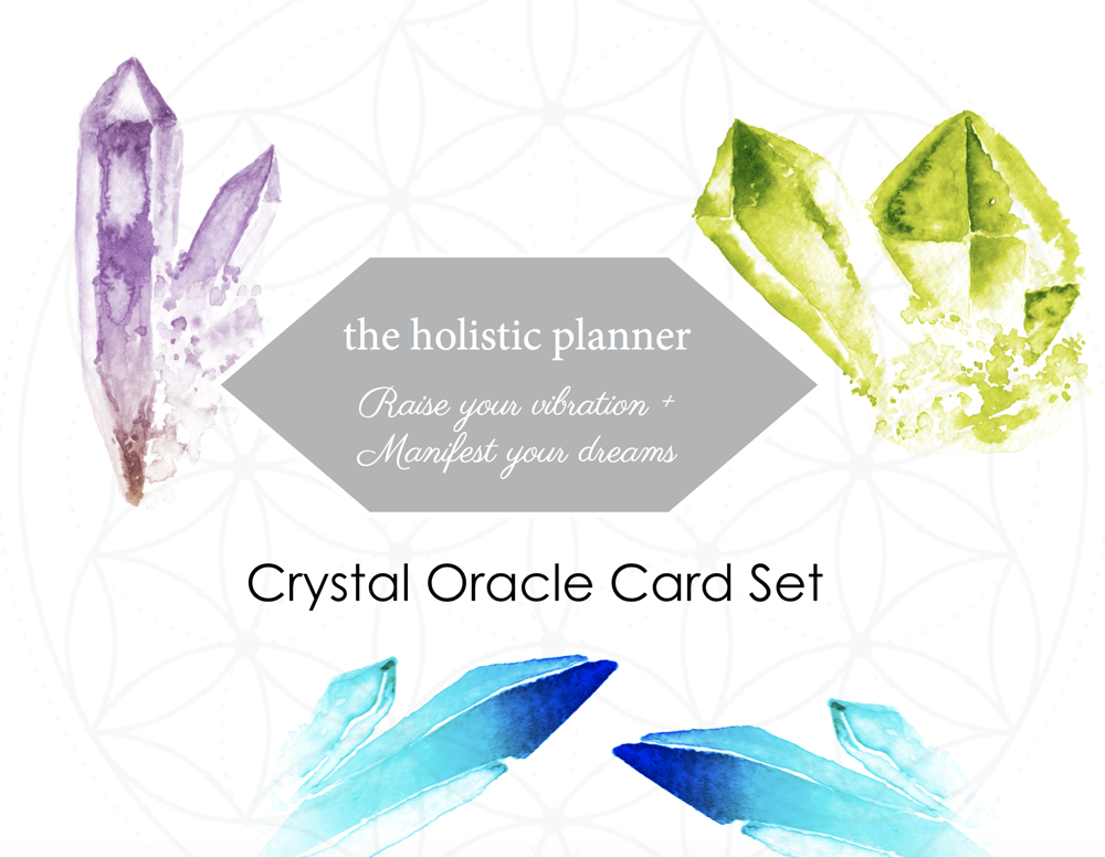 The Holistic Planner's Watercolor Crystal Oracle Card Set + Guidebook -  PRINTABLE VERSION